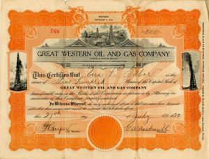 Great Western Oil and Gas Company - Stock Certificate