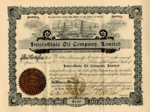 Inter=State Oil Company, Limited - Stock Certificate