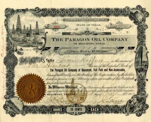 Paragon Oil Company of Beaumont, Texas - Stock Certificate