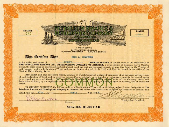 Petroleum Finance & Development Company of America - Stock Certificate