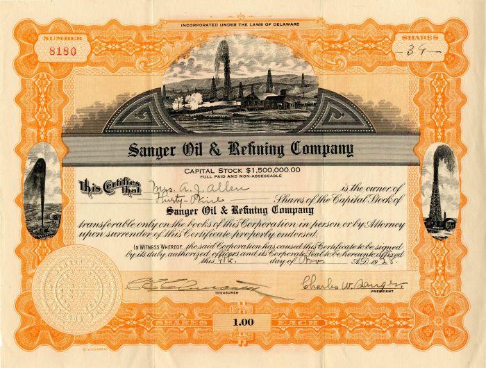 Sanger Oil & Refining Company - Stock Certificate
