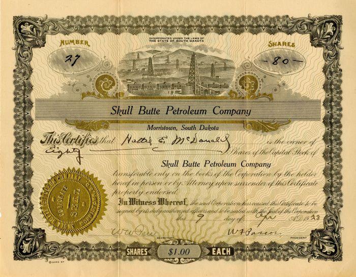 Skull Butte Petroleum Company - Stock Certificate