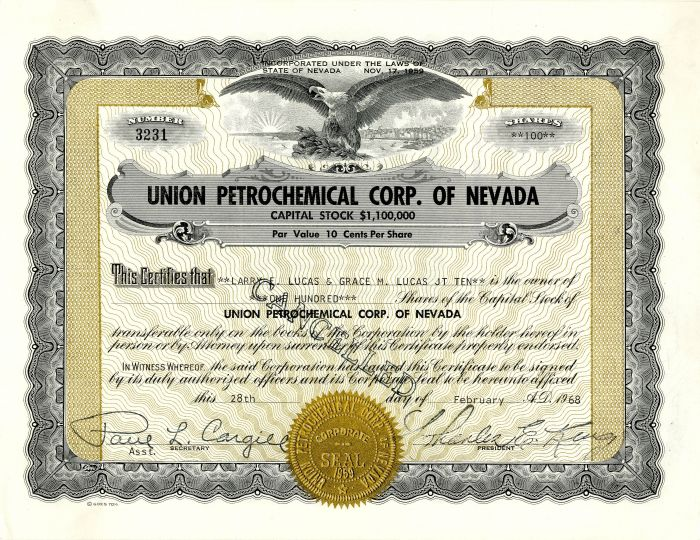 Union Petrochemical Corp. of Nevada - Stock Certificate