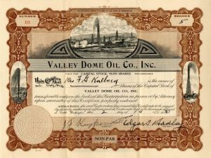 Valley Dome Oil Co., Inc. - Stock Certificate