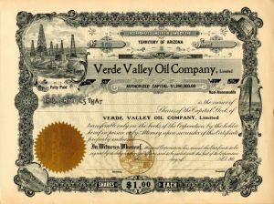 Verde Valley Oil Company, Limited - Stock Certificate