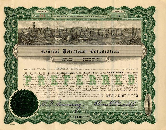 Central Petroleum Corporation - Stock Certificate