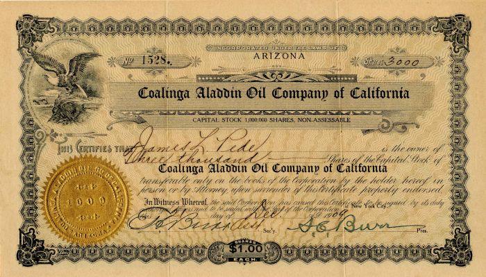 Coalinga Aladdin Oil Company of California - Stock Certificate