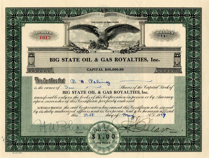 Big State Oil & Gas Royalties, Inc.