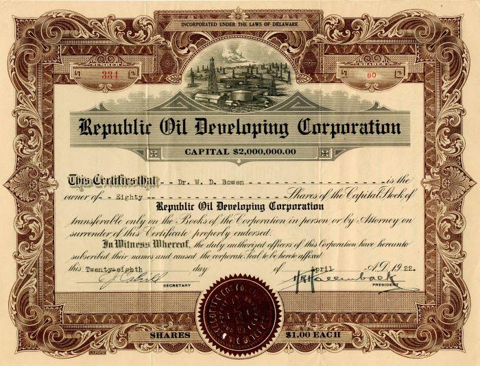 Republic Oil Developing Corporation