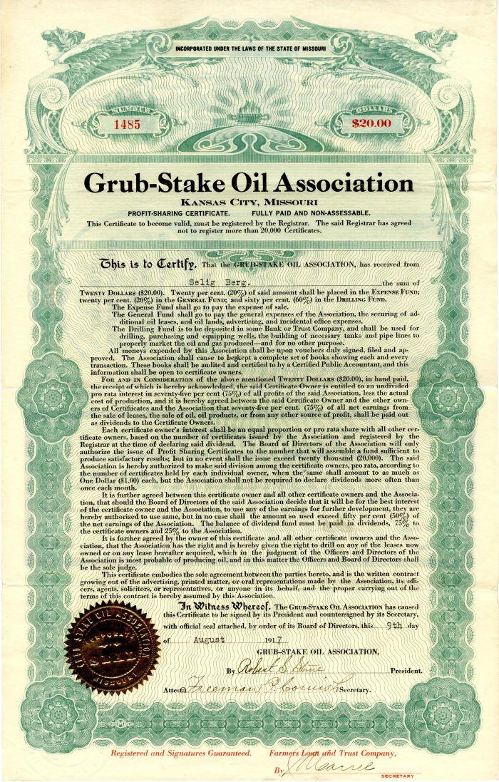 Grub-Stake Oil Association - $20