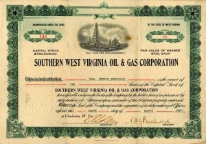Southern West Virginia Oil & Gas Corporation - Stock Certificate - SOLD