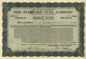 Standard Fuel Company - Stock Certificate - SOLD