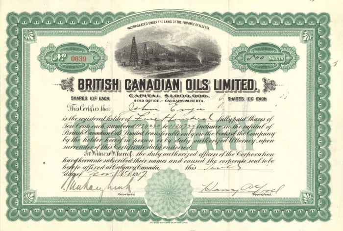 British Canadian Oils Limited - Stock Certificate