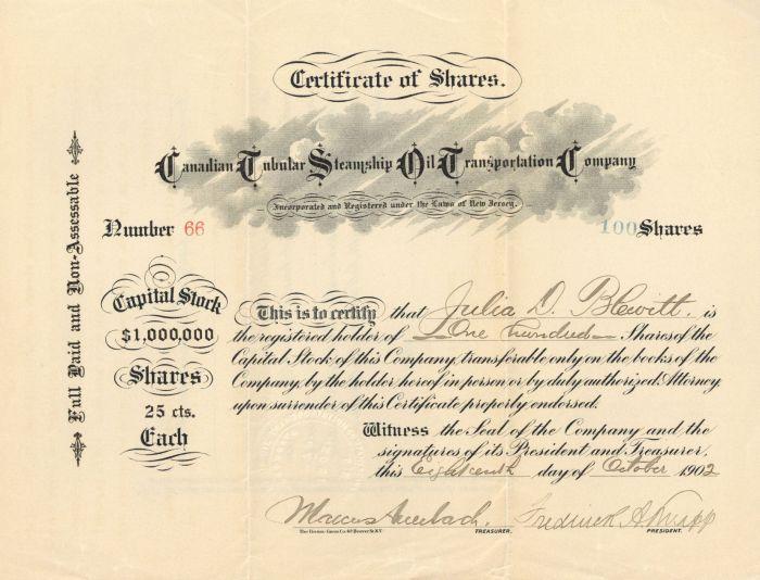 Canadian Tubular Steamship Oil Transportation Company - Stock Certificate