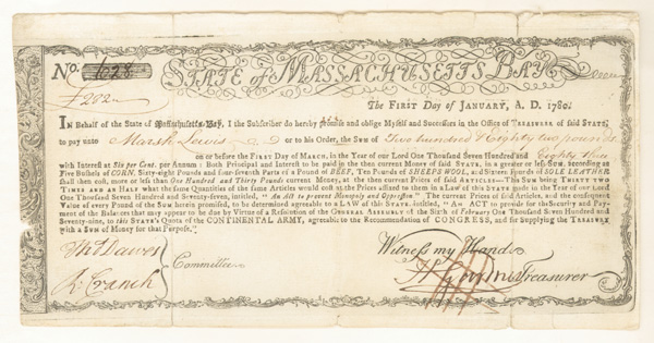 State of Massachusetts Bay Bond - SOLD