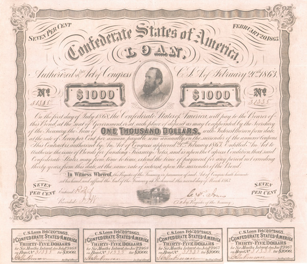 Confederate $1,000 Bond with portrait of