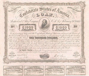 "Confederate $1,000 Bond with portrait of ""Stonewall Jackson"" on pink paper"