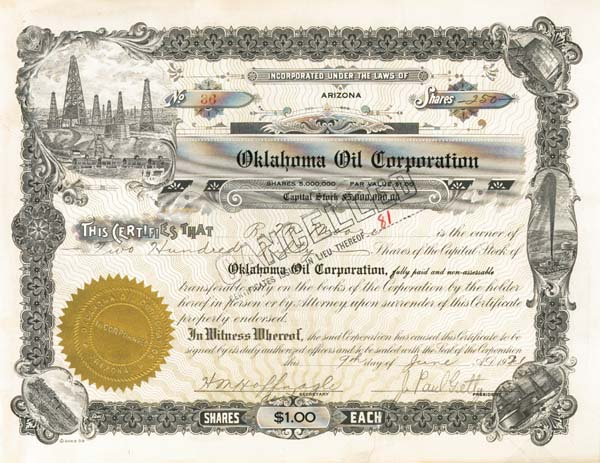 "J. Paul Getty - Oklahoma Oil Corporation - The Man behind the Movie ""All the Money in the World"" - Stock Certificate"