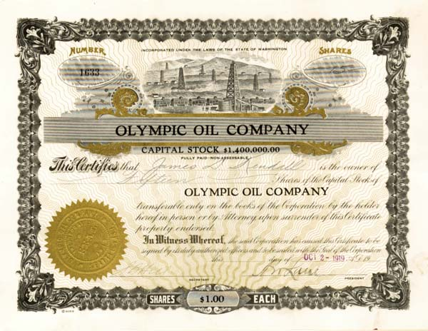 Olympic Oil Company - Stock Certificate