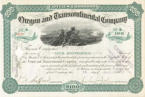 Henry Villard - Oregon and Transcontinental Co. - Stock Certificate