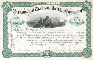 George M. Pullman - Oregon & Transcontinental Co - Stock Certificate