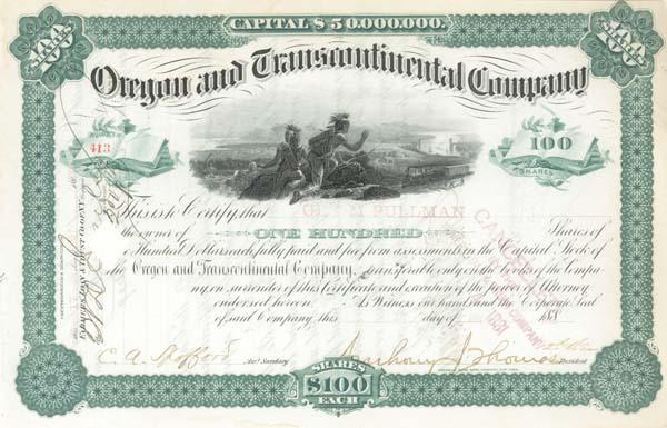 George M. Pullman - Oregon & Transcontinental Co - Stock Certificate