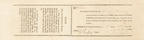 Owego and Ithaca Turnpike Co - Stock Certificate