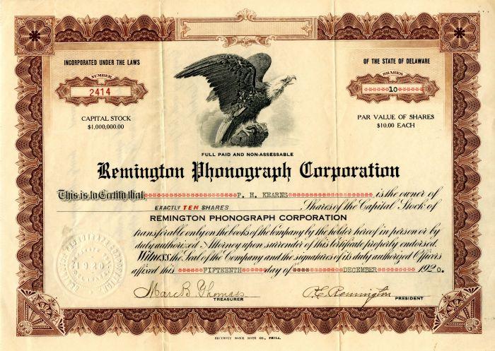 Remington Phonograph Corporation - Stock Certificate