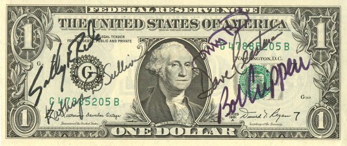 Astronaut Autographed One Dollar Bill