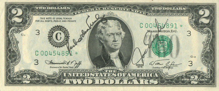 Astronaut Autographed Two Dollar Bill - SOLD