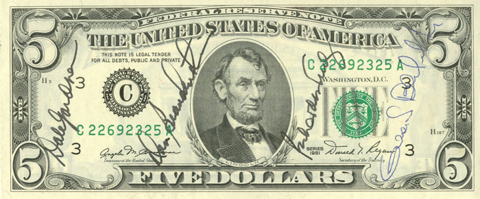 Astronaut Autographed 5 Dollar Bill - SOLD