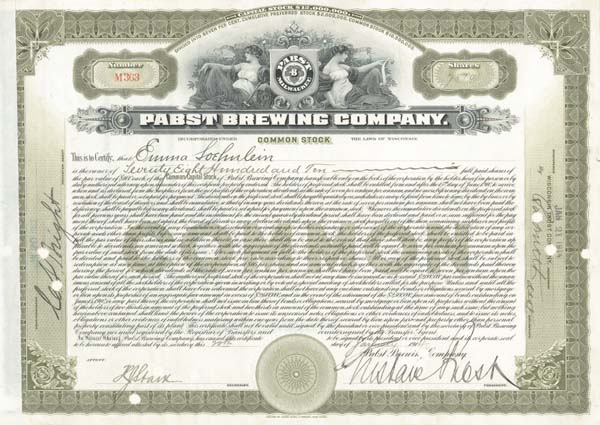 Gustave Pabst - Pabst Brewing Company - Stock Certificate