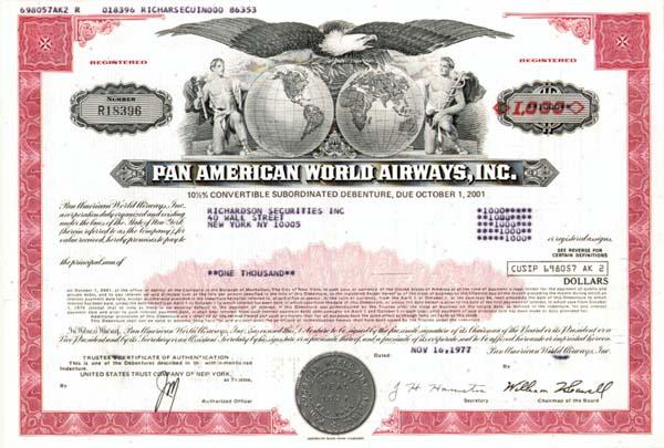 Pan American World Airways, Inc - 50 Pieces