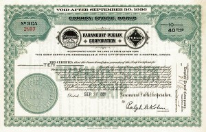 Paramount Publix Corp - SOLD - Stock Certificate - SOLD