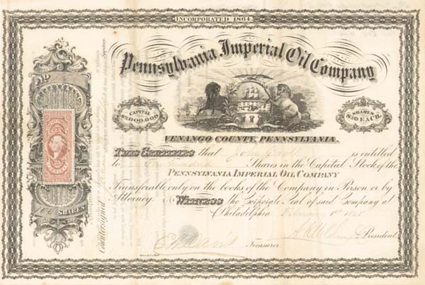 Pennsylvania Imperial Oil Co - Stock Certificate