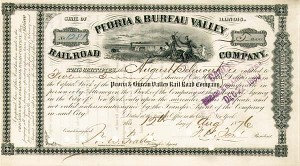 August Belmont - Peoria & Bureau Valley Railroad - Stock Certificate