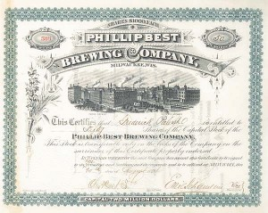 Frederick Pabst, Charles Best - Phillip Best Brewing Co - Stock Certificate