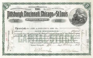 Karl G. Roebling - Pittsburgh, Cincinnati, Chicago & St. Louis Railroad - Stock Certificate