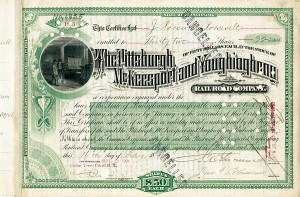 James Roosevelt Roosevelt - Pittsburgh McKeesport & Youghiogheny Railroad - Stock Certificate