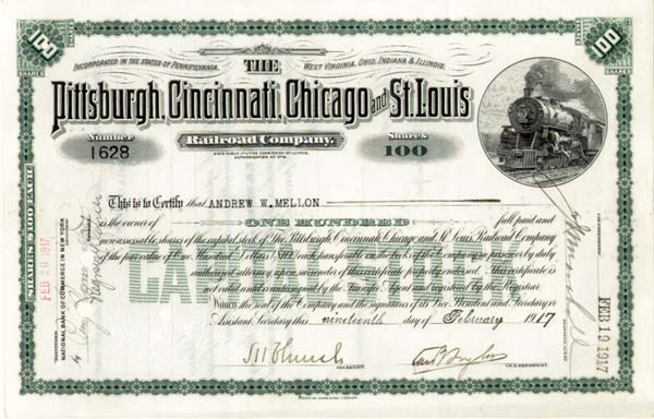 Andrew W. Mellon - Pittsburgh, Cincinnati, Chicago and St. Louis Railroad - Stock Certificate - SOLD