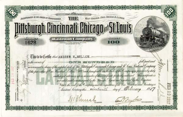 Andrew W. Mellon - Pittsburgh, Cincinnati, Chicago and St. Louis Railroad - Stock Certificate