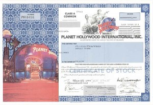 Planet Hollywood International, Inc. - Stock Certificate