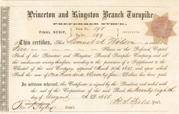 Princeton and Kingston Branch Turnpike - Stock Certificate