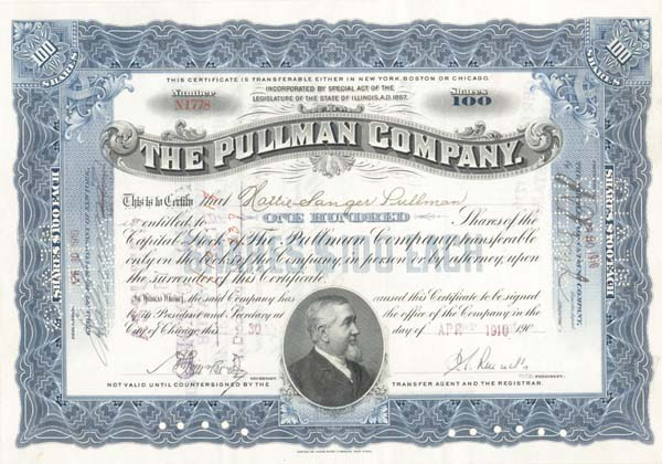 Hattie Sanger Pullman - Pullman Co - Stock Certificate - SOLD