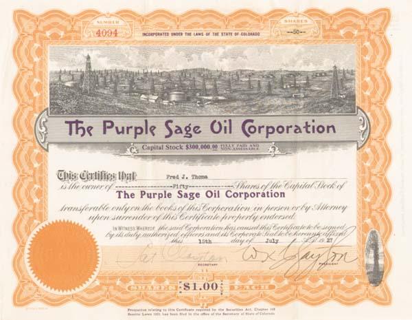 Purple Sage Oil Corporation - Stock Certificate