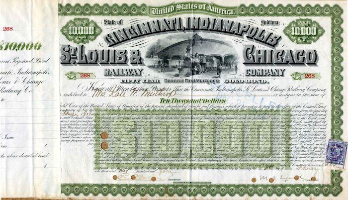 Cincinnati, Indianapolis, St. Louis & Chicago Railway Company - $10,000Bond