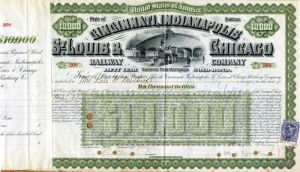 Cincinnati, Indianapolis, St. Louis & Chicago Railway Company - $10,000Bond