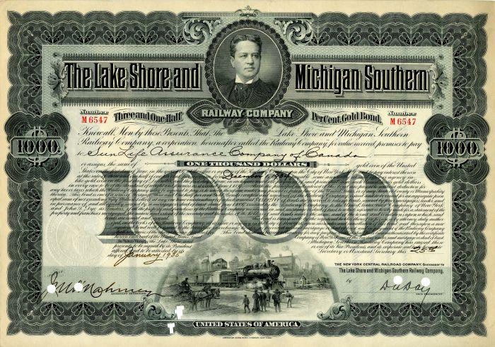 Lake Shore and Michigan Southern Railway Company - Bond