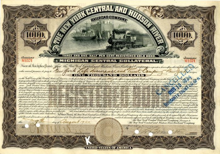 New York Central and Hudson River Railroad Company - Bond