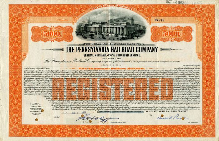 Pennsylvania Railroad Company - $5,000 Bond